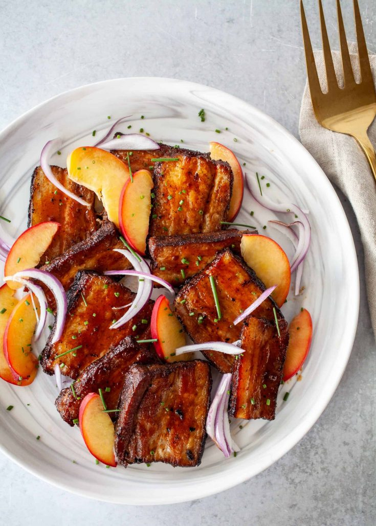 BBQ Sous Vide Pork Belly with Pickled Peaches