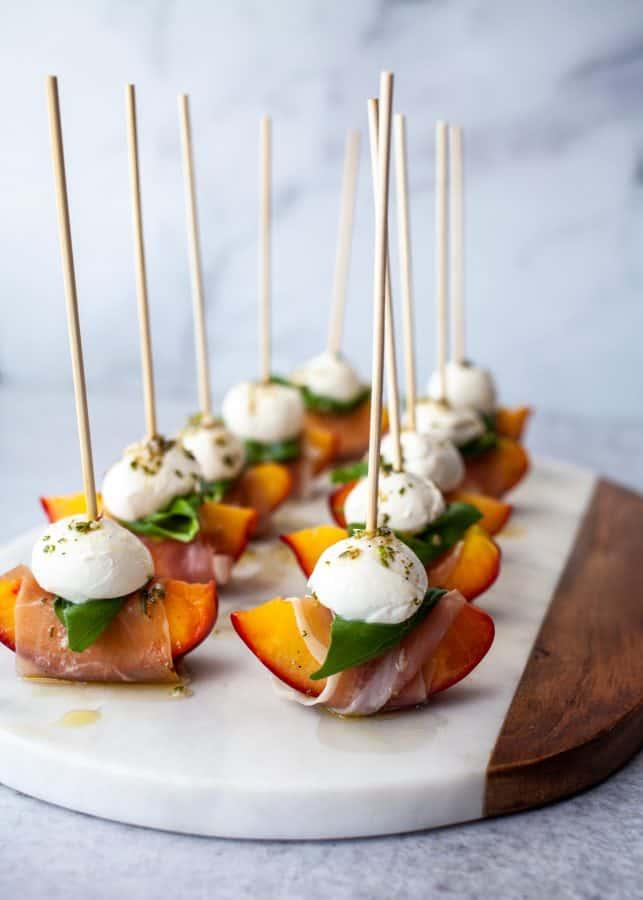 Mozzarella, Prosciutto, and Pickled Peach Appetizer Skewers | The Noshery