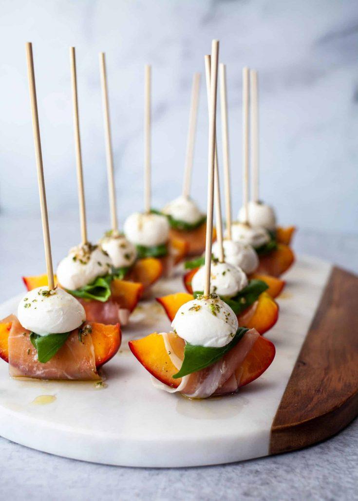 Mozzarella, Prosciutto, and Pickled Peach Appetizer Skewers