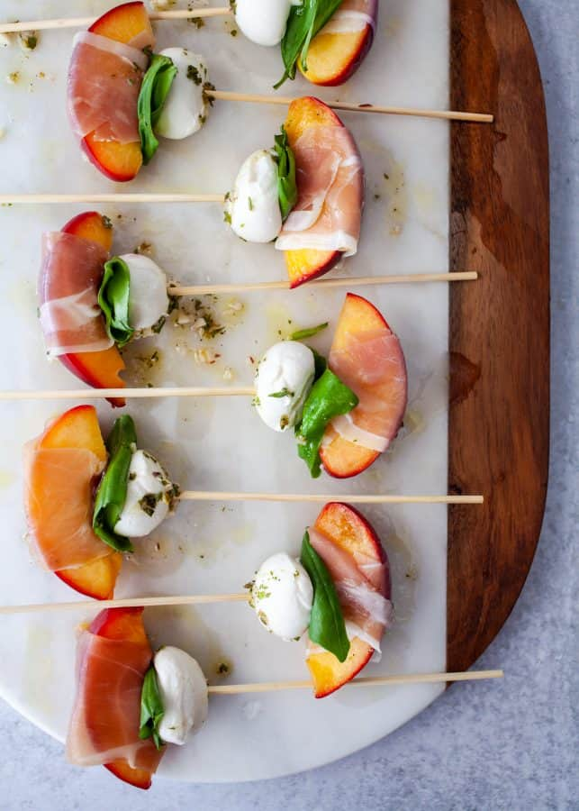 Mozzarella, Prosciutto, and Pickled Peach Appetizer Skewers
