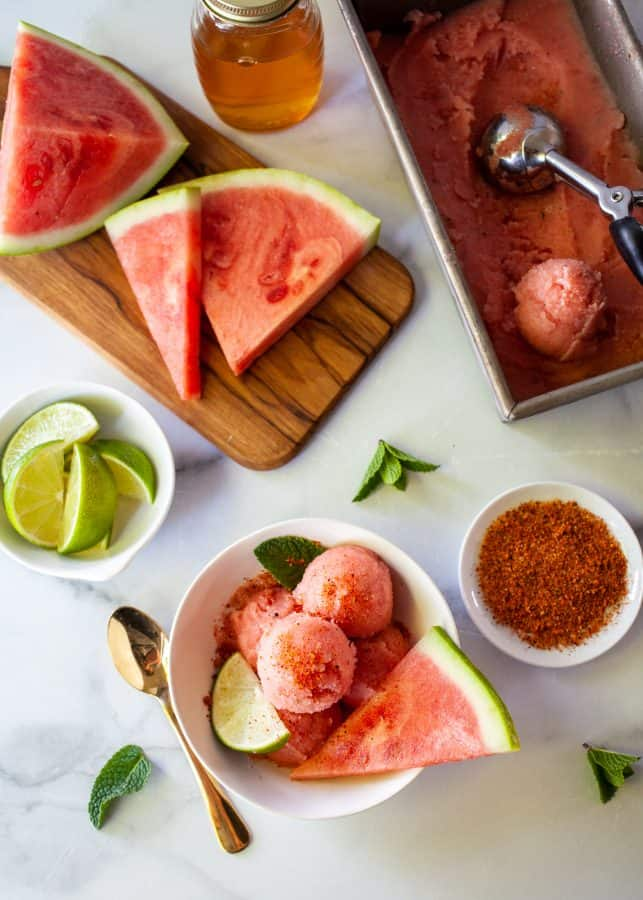 Honey and Mint Watermelon Sorbet Recipe | The Noshery