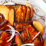BBQ Sous Vide Pork Belly with Pickled Peaches | The Noshery