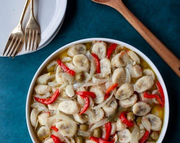 Guineos en Escabeche   Marinated Green Bananas
